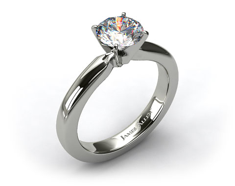 14K White Gold 3mm Comfort Fit Diamond Solitaire