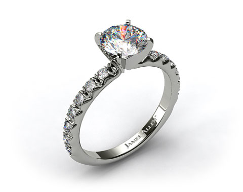 14k White Gold 0.32ct French Cut Pave Diamond Engagement Ring