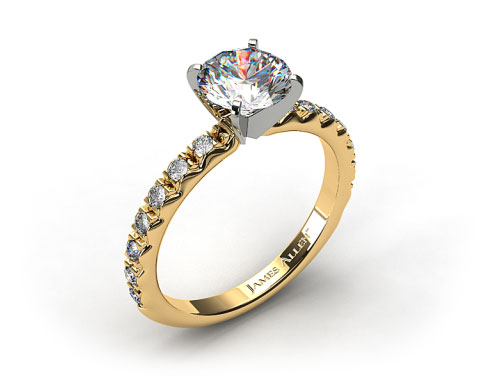 18k Yellow Gold 0.32ct French Cut Pave Diamond Engagement Ring