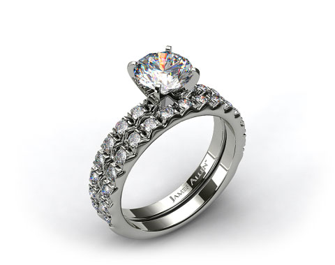 18k White Gold 0.32ct French Cut Pave Engagement Ring & .34ct French Cut Pave Wedding Ring