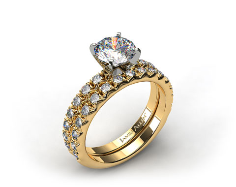 18k Yellow Gold 0.32ct French Cut Pave Engagement Ring & .34ct French Cut Pave Wedding Ring