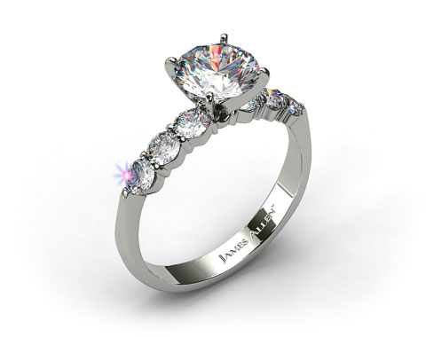 14k White Gold Common Prong Six Round Diamond Engagement Ring