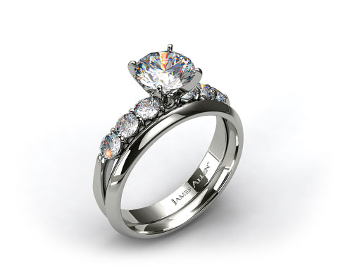 18k White Gold Common Prong Six Round Diamond Engagement Ring & 2mm Knife Edge Wedding Ring