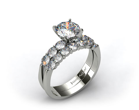 18k White Gold Common Prong Six Round Diamond Engagement Ring & 0.47ct Common Prong Wedding Ring