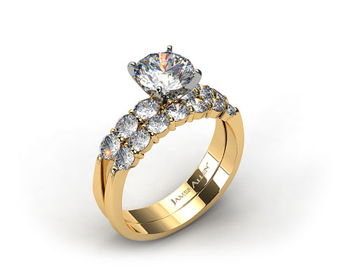18k Yellow Gold Common Prong Six Round Diamond Engagement Ring & 0.47ct Common Prong Wedding Ring