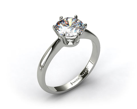 Platinum Six Prong Wire Basket Engagement Ring