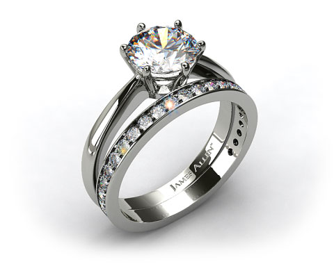 18k White Gold Six Prong Wire Basket Engagement Ring & 0.17ct Pave Set Wedding Ring