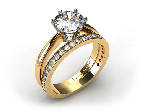 18k Yellow Gold Six Prong Wire Basket Engagement Ring & 0.17ct Pave Set Wedding Ring