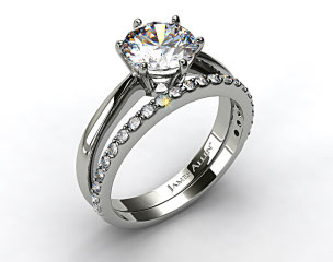 Platinum Six Prong Wire Basket Engagement Ring & Common Prong Wedding Ring