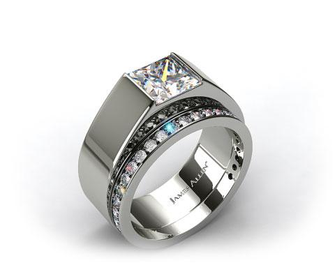 18K White Gold Designer Bar Solitaire Ring & 0.17ct Pave Set Wedding Ring