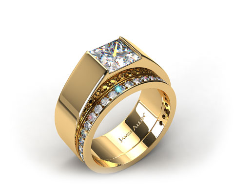 18k Yellow Gold Designer Bar Solitaire Ring & 0.17ct Pave Set Wedding Ring