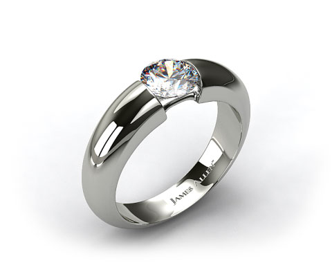 14k White Gold Round Brilliant Bar Set Diamond Solitaire Setting