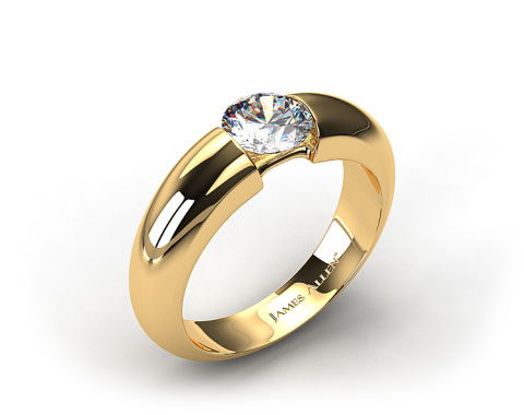 18k Yellow Gold Round Brilliant Bar Set Diamond Solitaire Setting