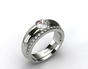 Platinum Round Brilliant Bar Set Solitaire Ring & Common Prong Wedding Ring