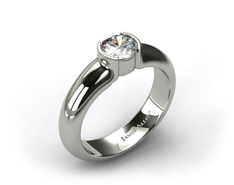 18k White Gold 5.4mm Half-Bezel Diamond Solitaire Ring