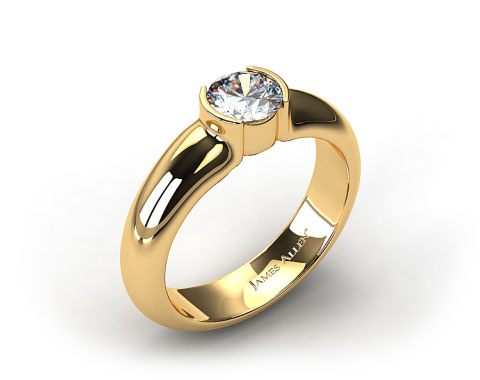 Yellow Gold 5.4mm Half-Bezel Diamond Solitaire Setting