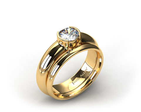 18k Yellow Gold 5.4mm Half-Bezel Solitaire Ring & 2mm Plain Wedding Band
