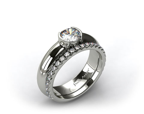 Platinum 5.4mm Half-Bezel Solitaire Ring & French Cut Pave Set Wedding Ring