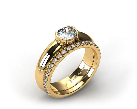 18k Yellow Gold 5.4mm Half-Bezel Solitaire Ring & French Cut Pave Set Wedding Ring