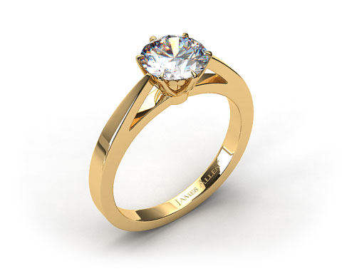 18k Yellow Gold Tapered Six Prong Filigree Basket Solitaire Engagement Ring
