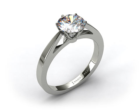 18k White Gold Tapered Six Prong Filigree Basket Solitaire Engagement Ring