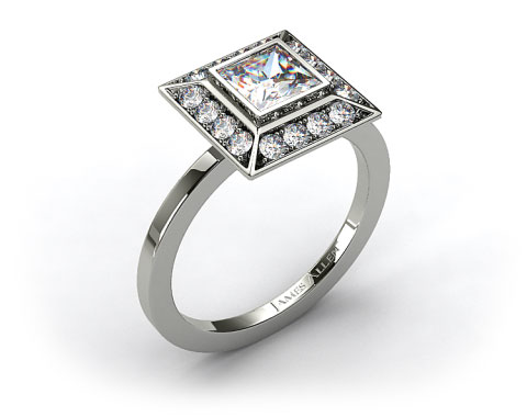 14k White Gold 0.33ct Frame Pave Set Diamond Engagement Ring