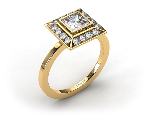 18k Yellow Gold 0.33ct Frame Pave Set Diamond Engagement Ring