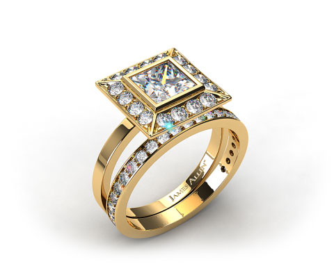 18k Yellow Gold 0.33ct Frame Pave Set Engagement Ring & 0.17ct Pave Set Wedding Ring