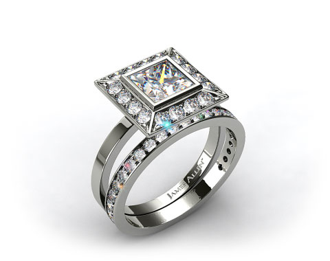Platinum 0.33ct Frame Pave Set Engagement Ring & 0.17ct Pave Set Wedding Ring