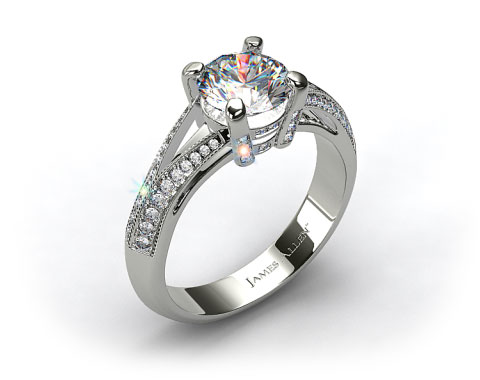 Platinum Split Shank Knife-Edge Pave Engagement Ring
