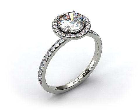 18k White Gold 0.39ct Diamond Halo Pave Engagement Ring