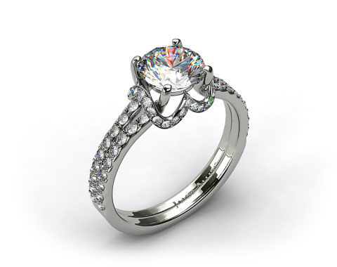 14K White Gold Pave Split Shank With Scalloped Edge Engagement Ring