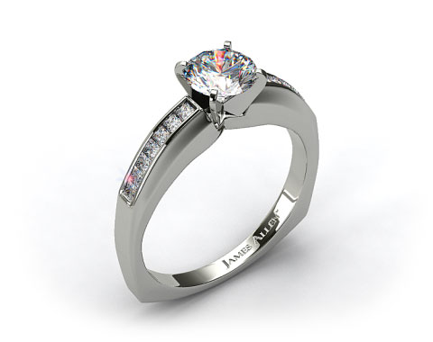 Platinum Channel Set Squared Shank Princess Shaped Engagement Ring