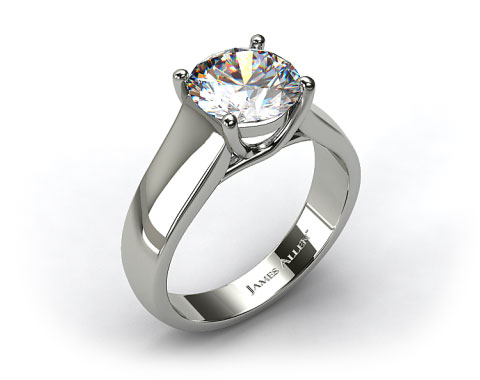 18K White Gold Wide Cross Prong Solitaire Engagement Ring