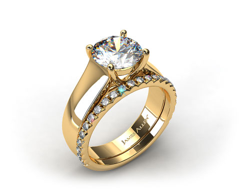 18K Yellow Gold Wide Cross Prong Solitaire Engagement Ring & French Cut Pave Set Wedding Ring