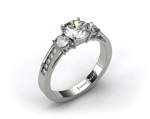 14k White Gold Round Shaped Three Stone Channel Set Diamond Engagement Ring