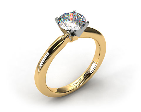 18k Yellow Gold 2mm Comfort Fit Solitaire Engagement Ring