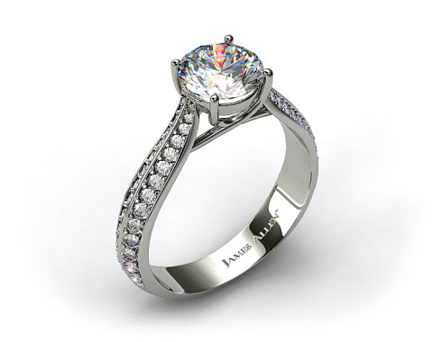 18k White Gold 0.28ctw Pave Set Diamond Engagement Ring