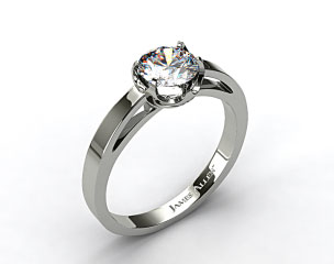 14k White Gold Six Prong Flat Tab Solitaire Engagement Ring