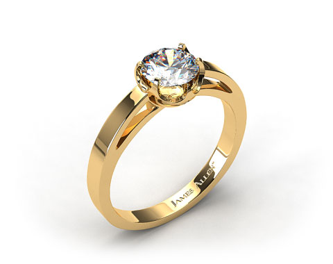 18k Yellow Gold Six Prong Flat Tab Solitaire Engagement Ring