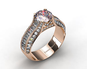 18k White Gold ME124 by Danhov Designer Engagement Ring (Rose Gold Basket)