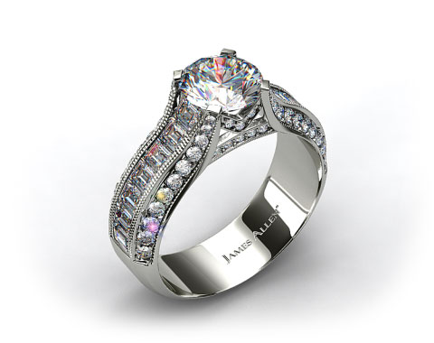 14k White Gold ME124 by Danhov Designer Engagement Ring