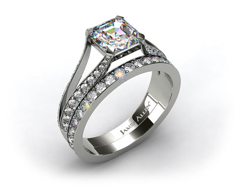 Platinum 0.32ctw Split Shank Pave Engagement Ring& Y121 by Danhov Wedding Band