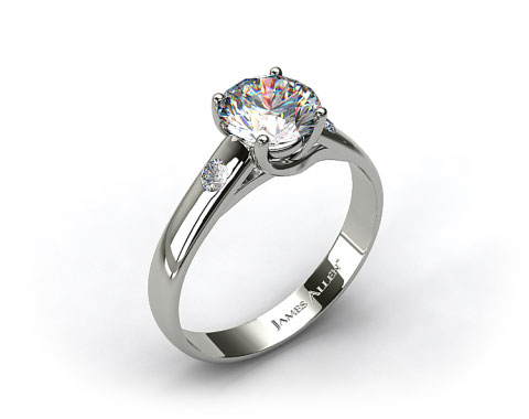 Platinum 3.3 mm Cross Prong Diamond Accent Solitaire Ring