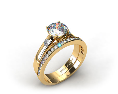 18K Yellow Gold 3.3 mm Cross Prong Accent Solitaire Ring & .28ct Channel Set Wedding Band