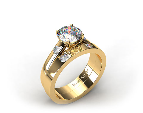 18k Yellow Gold 3.3 mm Cross Prong Accent Solitaire Ring & .06ctw Cross Prong Wedding Ring