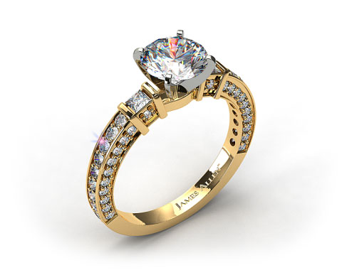 18k Yellow Gold Bar Set and Three Sided Pave Diamond Engagement Ring