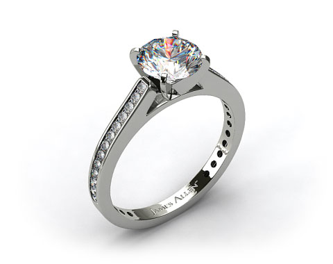 18k White Gold Thin Channel Set Round Shaped Diamond Engagement Ring