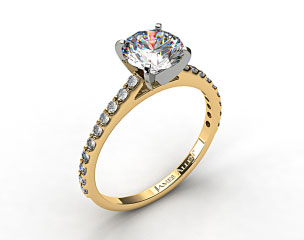 18k Yellow Gold 0.40ct Common Prong Round Shaped Diamond Engagement Ring