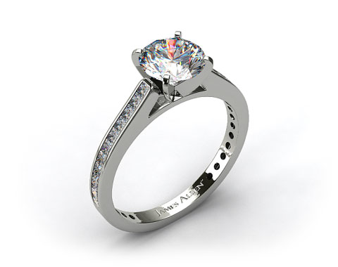 18k White Gold Thin Channel Set Princess Shaped Diamond Engagement Ring